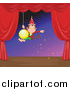 Pal Clipart of a Monkey Swinging on a Christmas Bulb on a Stage by Graphics RF
