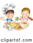 Pal Clipart of a Pair of Kids, a Happy White Boy and Girl Making Cookies Together by AtStockIllustration