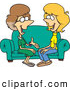 Pal Clipart of a Pair of Two Talkative Cartoon Women Sitting on a Sofa by Toonaday
