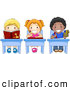Pal Clipart of a Picture of Diverse, Colorful Diverse School Kids Doing Work at Their School Desks by BNP Design Studio