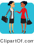 Pal Clipart of a Pretty Hispanic and Black Business Women Chatting on Their Way to Work by Monica