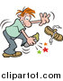 Pal Clipart of a Red Haired White Man Stabbing His Foot on Something in His Shoe by Johnny Sajem
