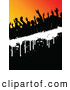 Pal Clipart of a Silhouetted Dancing Crowd on Black Orange and White by KJ Pargeter