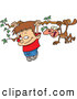 Pal Clipart of a Smiling Cartoon Boy and Monkey Hanging on a Tree Branch by Toonaday