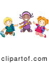 Pal Clipart of a Smiling Group of Diverse School Kids Jumping by BNP Design Studio