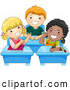 Pal Clipart of a Trio of Diverse School Kids Talking at Their Desks by BNP Design Studio