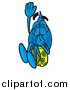 Pal Clipart of a Water Drop Character Plugging His Nose While Jumping into Water by Toons4Biz