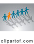 Pal Clipart of an Orange Paper Person Holding Hands with Blue People over Shadows by Vector Tradition SM