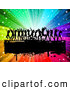 Pal Clipart of Black Silhouetted Dancers over a Grungy Bar on a Rainbow Burst by KJ Pargeter