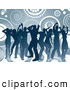 Pal Clipart of Blue Silhouetted Dancers with Circles and Spirals by KJ Pargeter