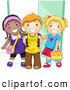 Pal Clipart of Diverse School Kids Standing by a Doorway to School by BNP Design Studio
