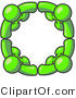 Pal Clipart of Four Lime Green People Standing in a Circle and Grasping Hands for Teamwork and Unity by Leo Blanchette
