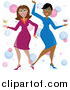 Pal Clipart of Funky Ladies Dancing with Cocktails by Pams Clipart