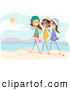 Pal Clipart of Happy Stick Girls Walking on a Beach by BNP Design Studio