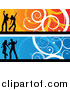 Pal Clipart of Orange and Blue Silhouetted Dancer and Swirl Website Banners by KJ Pargeter