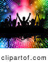 Pal Clipart of Silhouetted Dancers on a Grunge Bar over a Halftone Starry Rainbow Vortex by KJ Pargeter