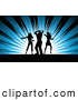 Pal Clipart of Three Silhouetted Dancers over Blue Rays by KJ Pargeter