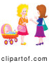 Pal Clipart of Two Cute Airbrushed Women Chatting by a Baby by Alex Bannykh
