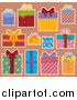 Pal Clipart of Wrapped Gift Boxes over Tan by Visekart