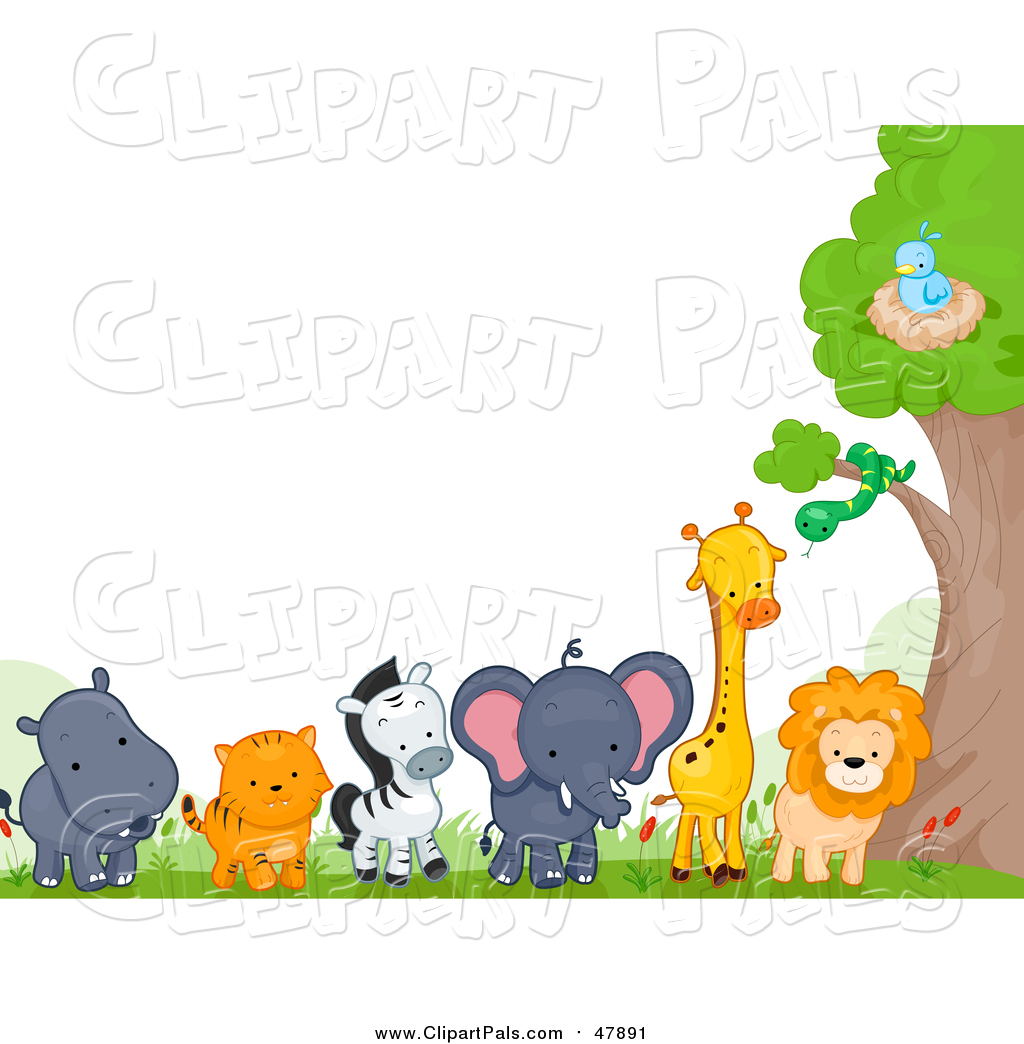 Pal Clipart Of A Border Zoo Animals By Tree BNP