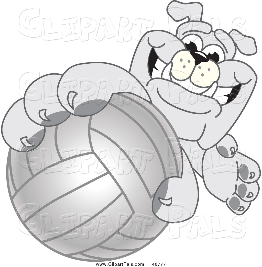 Pal Clipart Of A Bulldog Mascot Reaching Up And Grabbing A