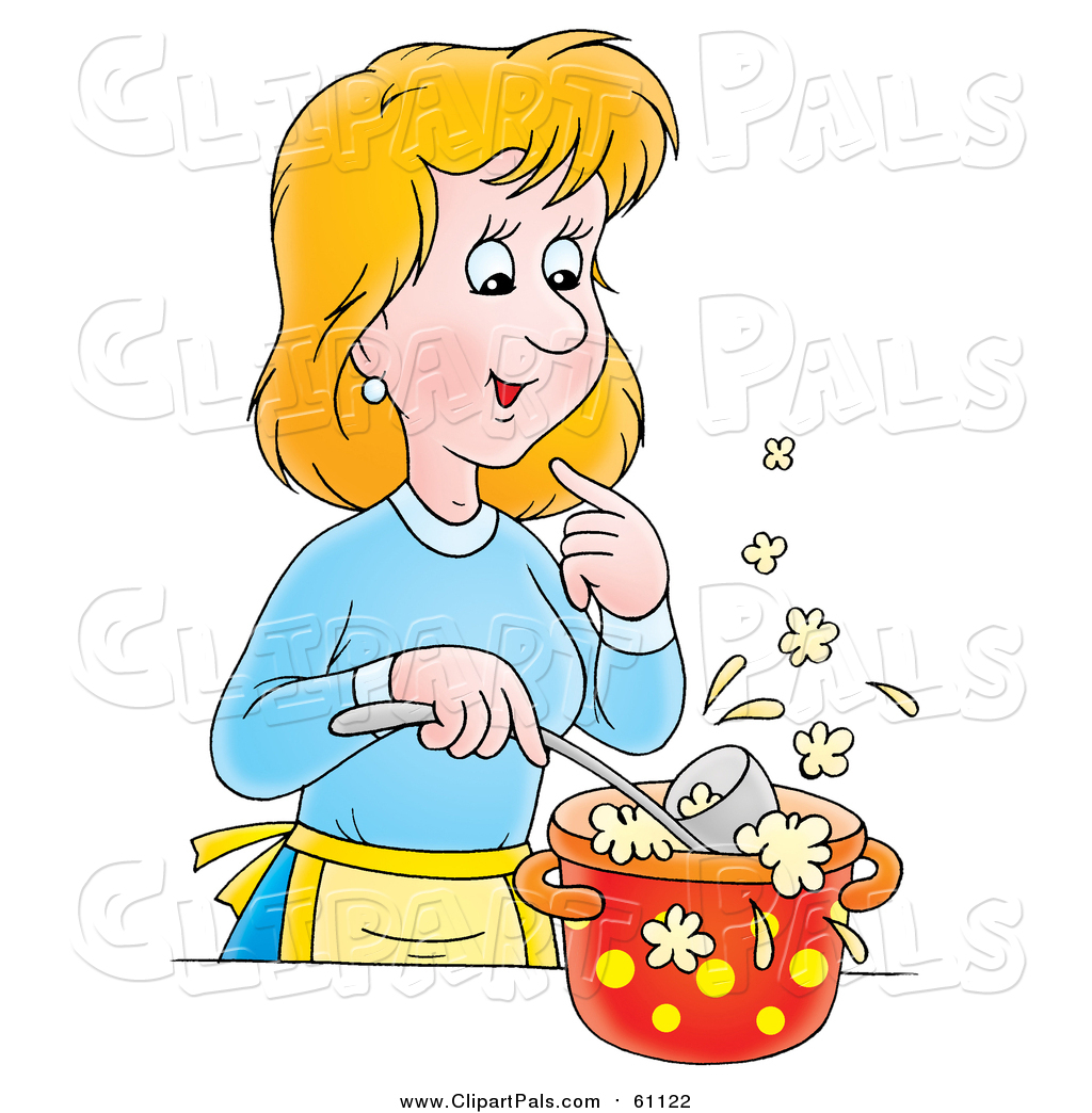 Pal Clipart Of A Cartoon Blond Caucasian Woman Cooking Soup By Alex Bannykh 61122