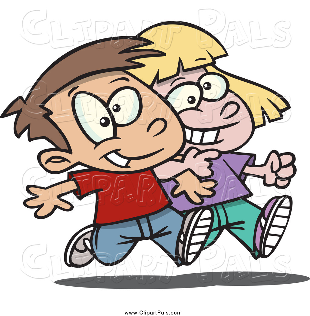 pal clipart of a cartoon happy boy and girl walking arm in arm