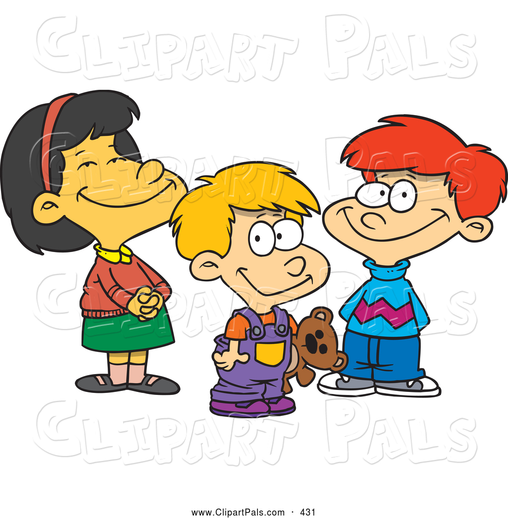 Pal Clipart Of A Childs Sketch Cartoon Colored Picture Girl And Two