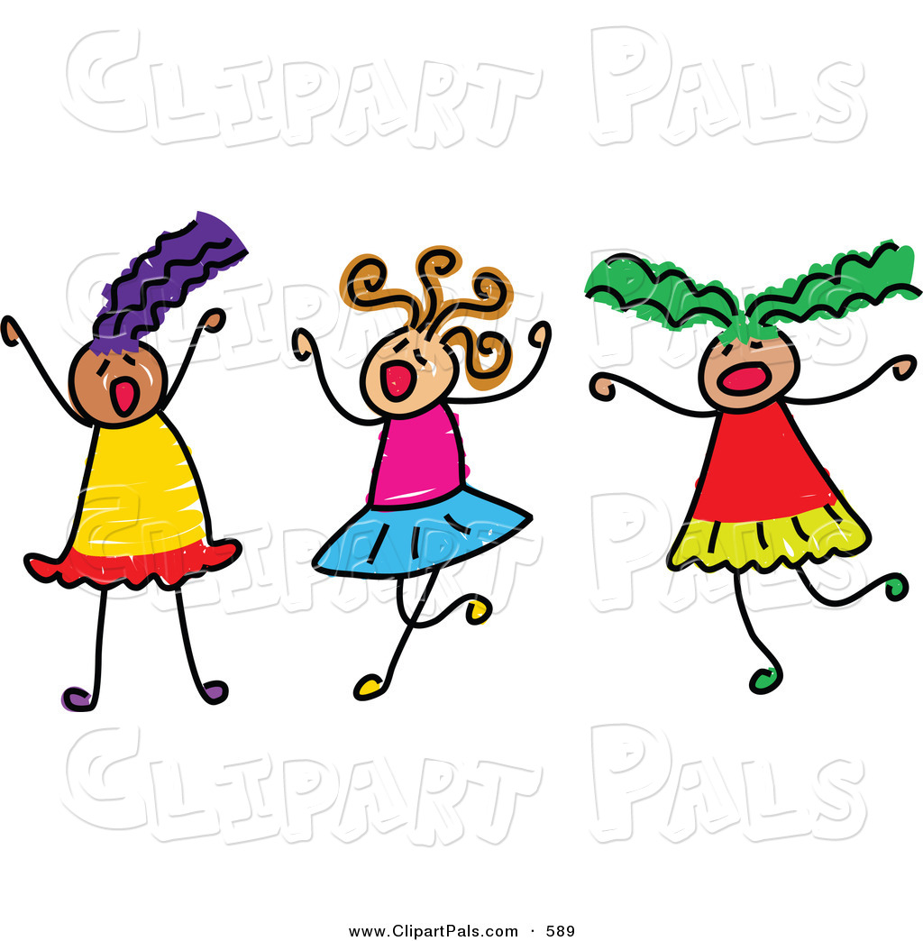 Pal Clipart Of A Childs Sketch Of Three Girls Playing