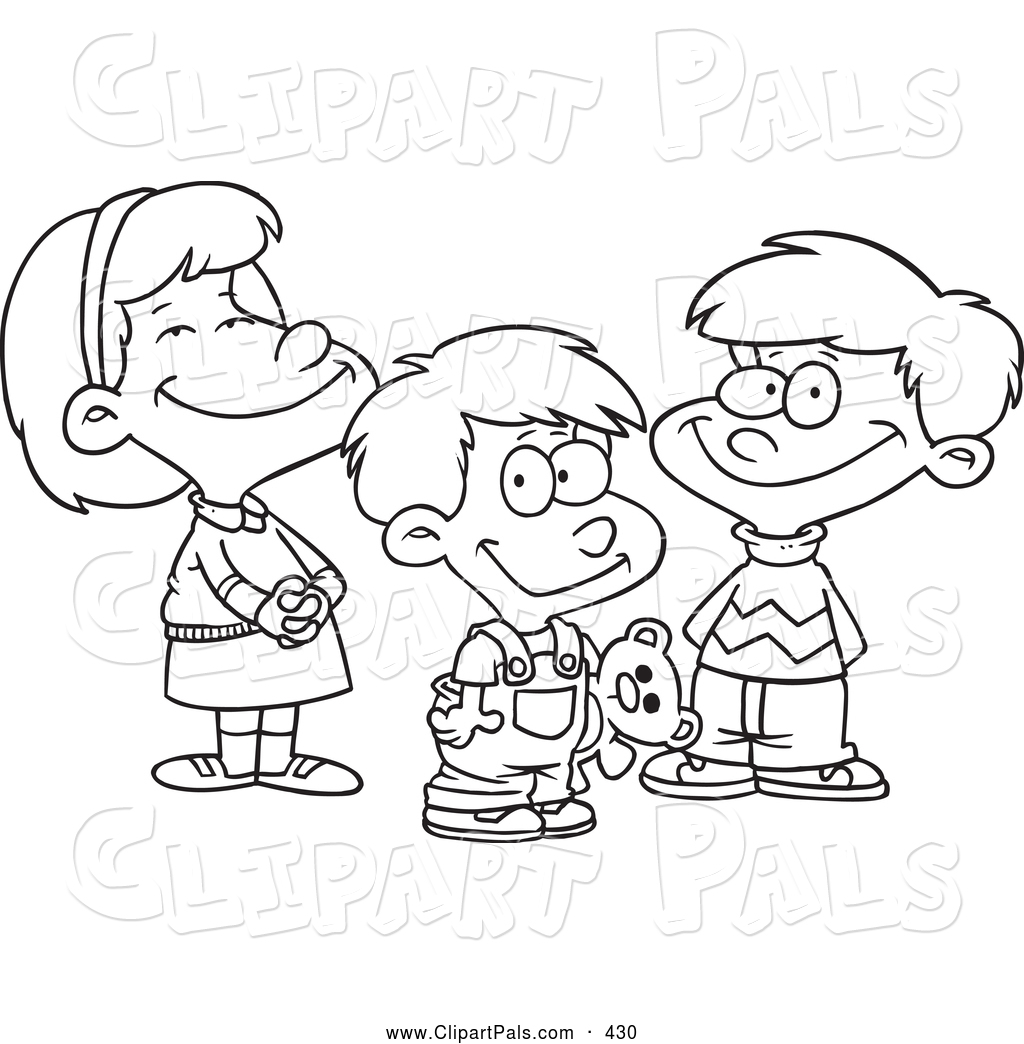Pal Clipart of a Coloring Page of a Small Girl and Two Boys by ...