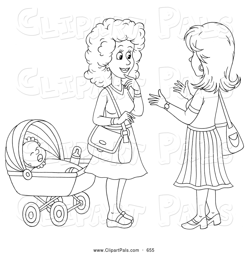 Pal Clipart Of A Coloring Page Outline Two Friendly Women Chatting By Baby