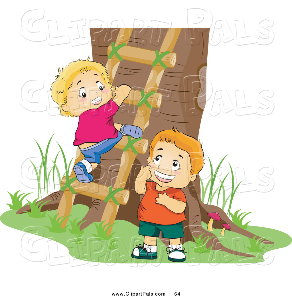 Pal Clipart Of A Couple Of Boys Climbing A Ladder To A Tree House By