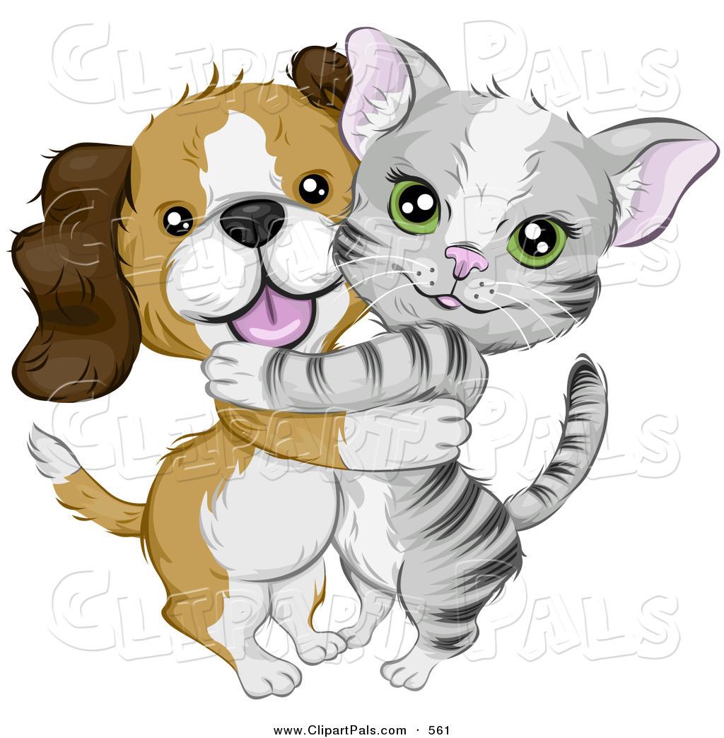 Pal Clipart of a Cute Beagle Puppy Hugging a Little Gray ...