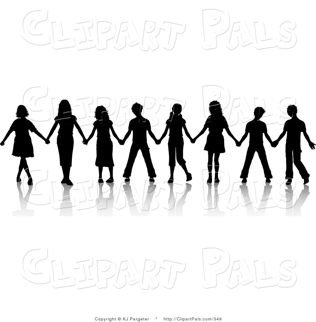 pal clipart of a group of black silhouetted boys and girls standing rh clipartpals com Popular Girl Clip Art Clip Art Crowd of Girls