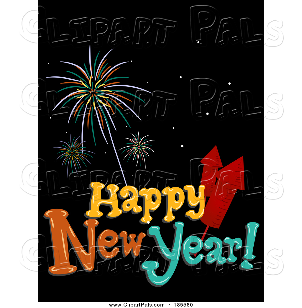 Pal clipart of a happy new year greeting with fireworks over black pal clipart of a happy new year greeting with fireworks over black kristyandbryce Image collections