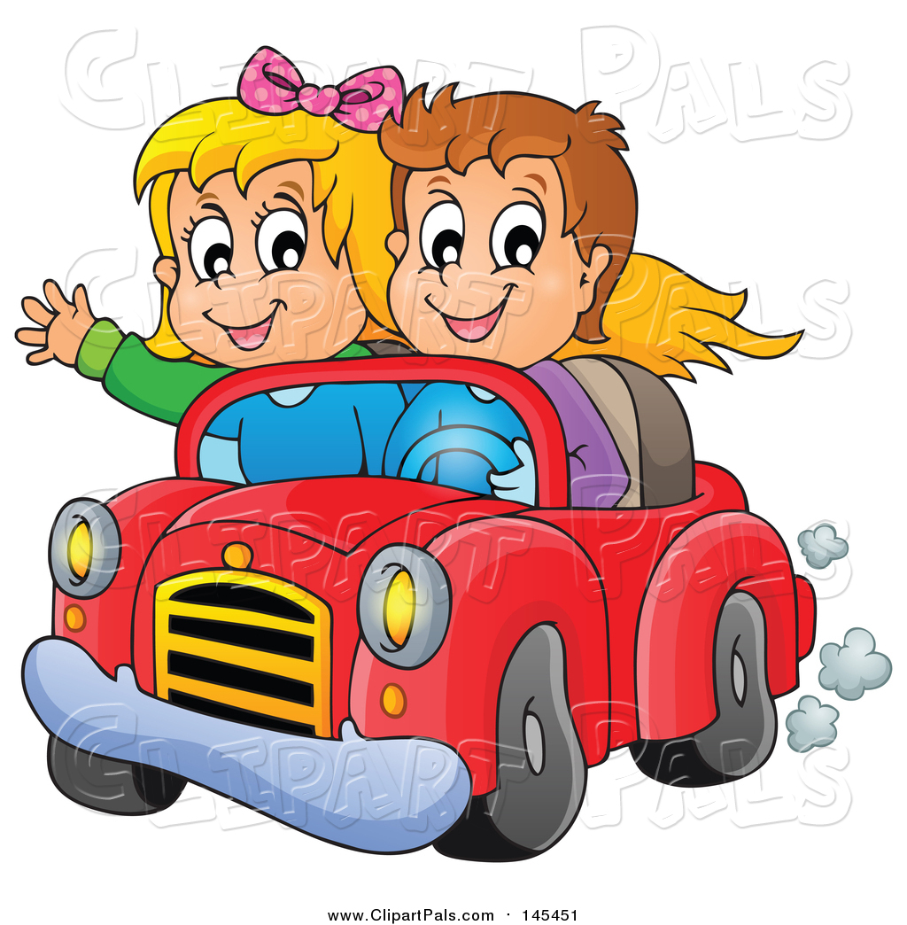 Pal Clipart Of A Happy White Boy And Girl Driving In A Red