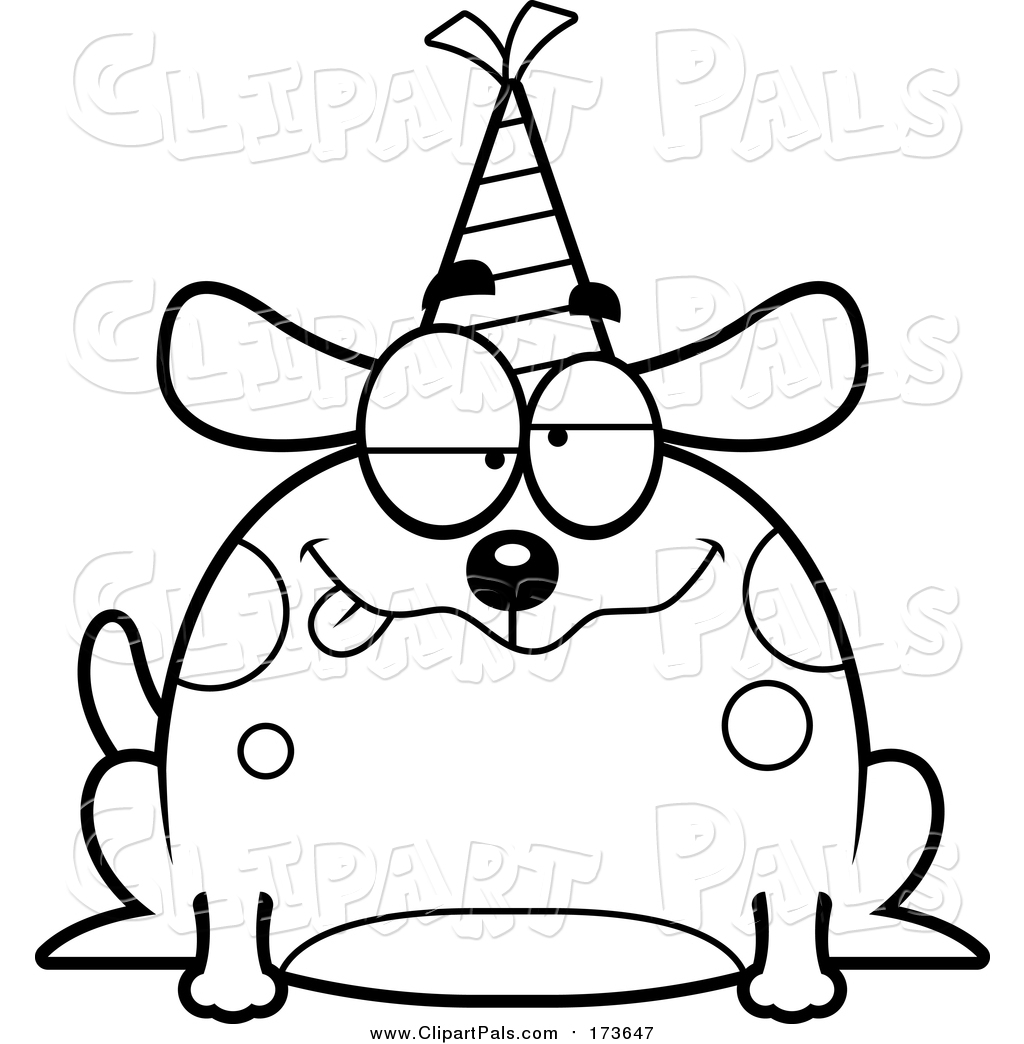 Pal Clipart of a Lineart Drunk Birthday Dog Wearing a Party Hat by ... for Party Hat Clipart Black And White  146hul