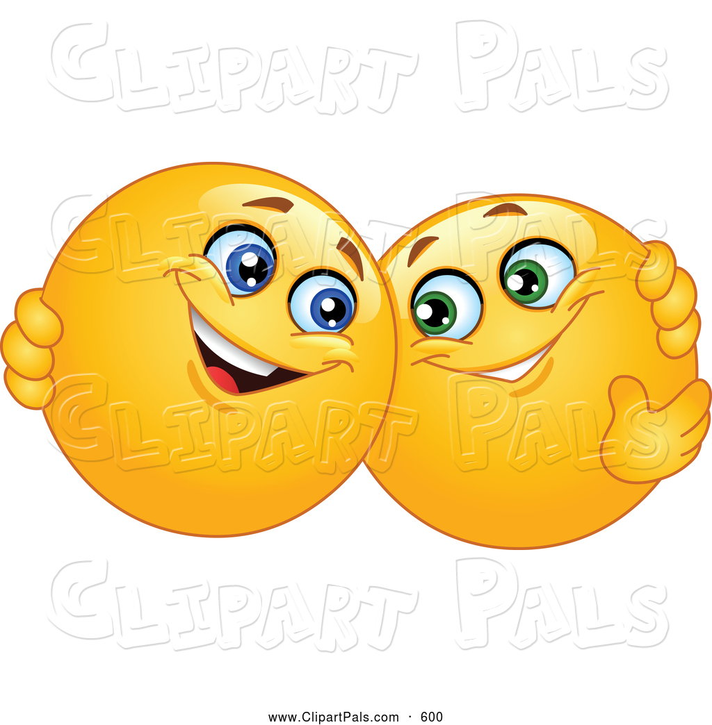 Pal Clipart Of A Pair Of Friendly Yellow Smiley Face Emoticons