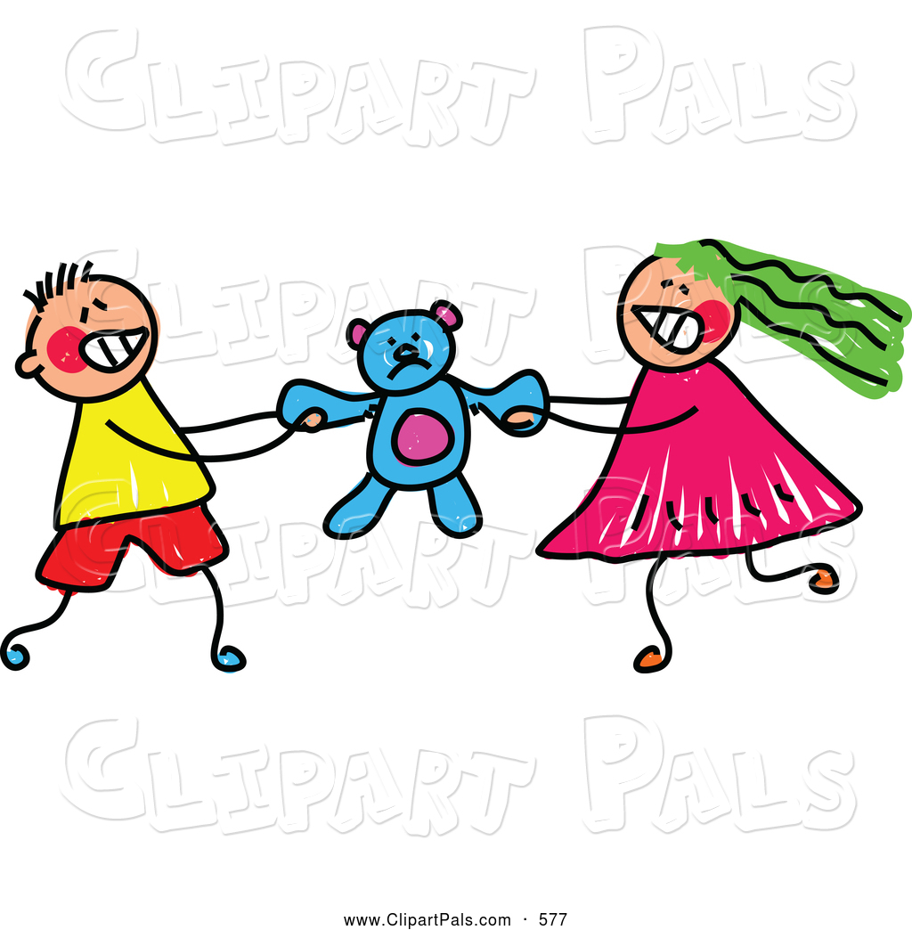 pal clipart of a pair of kids - a boy and girl fighting over a teddy