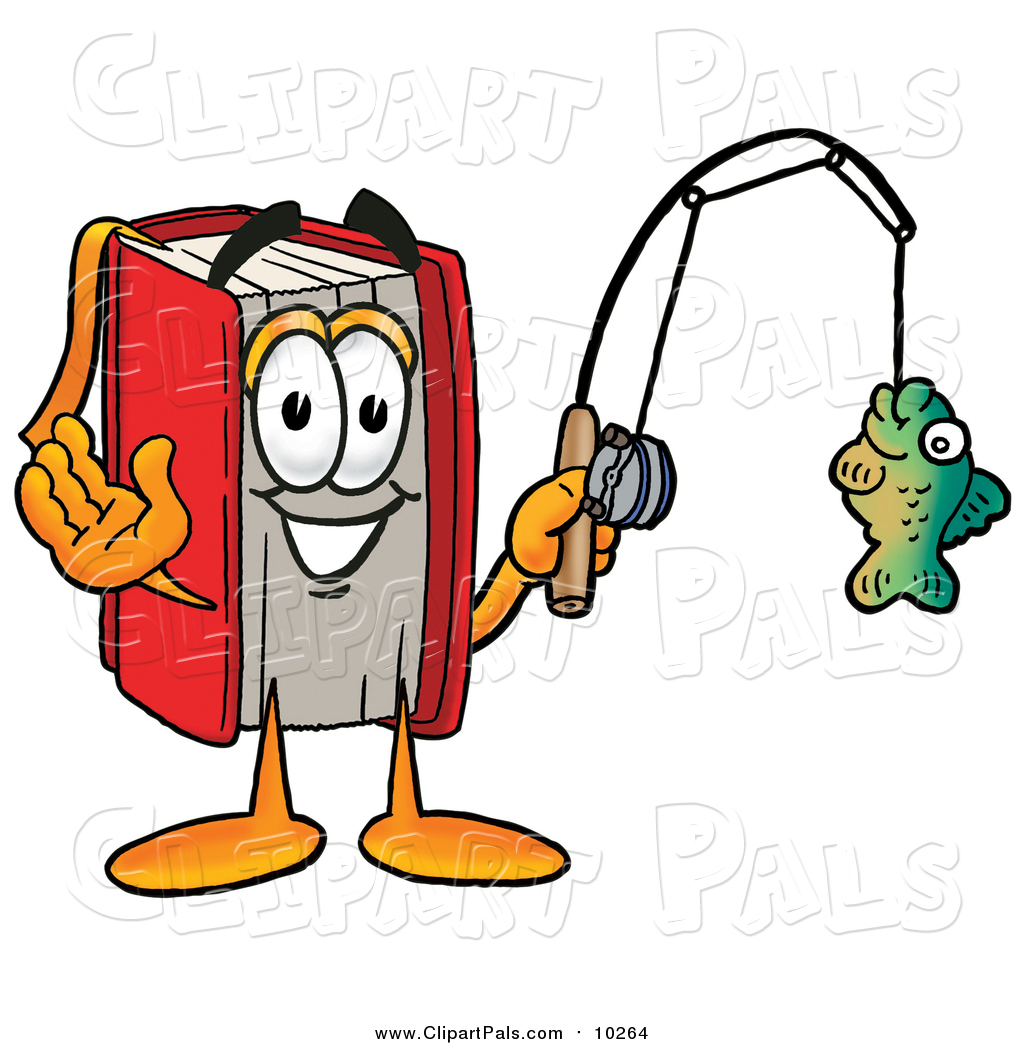 pal clipart of a red book mascot holding a fish on a fishing pole by rh clipartpals com clip art of fishing bobber clipart fishing rod