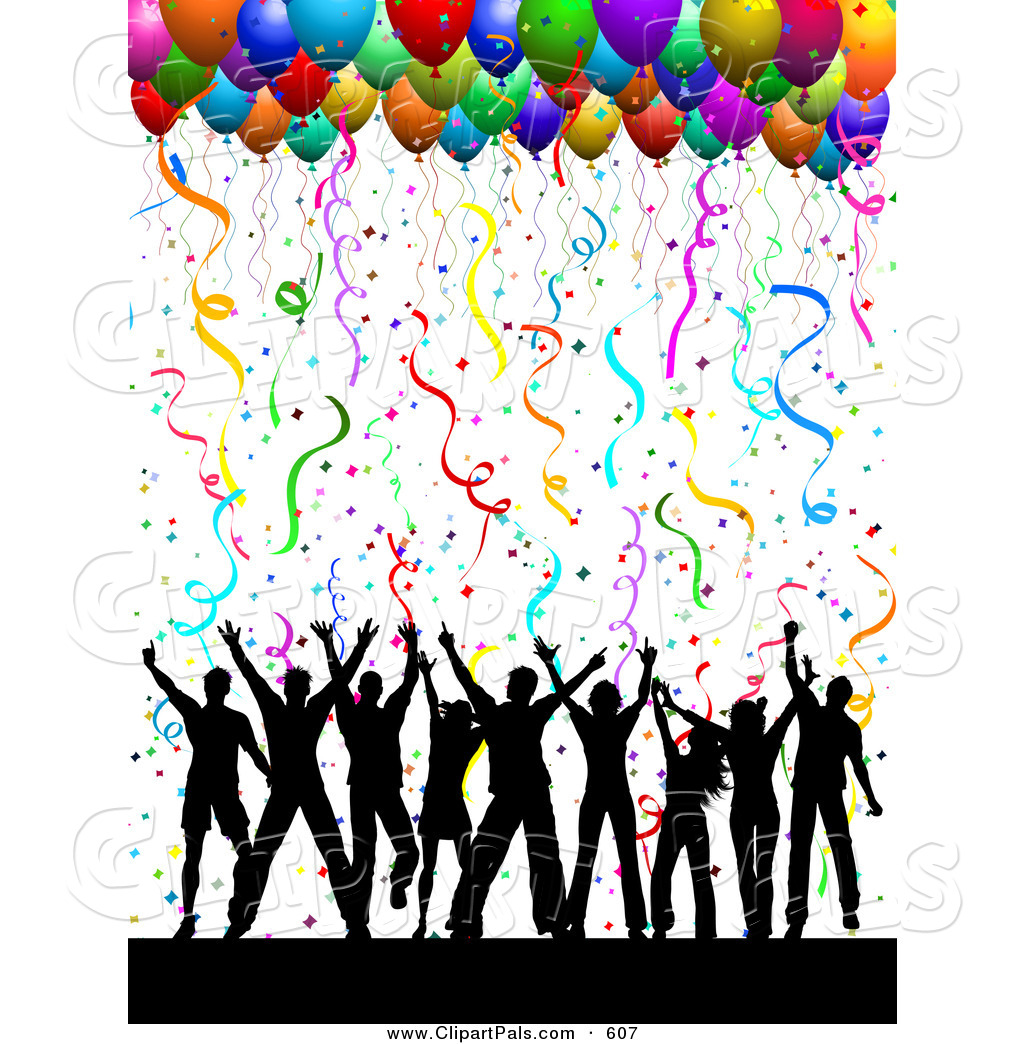 pal clipart of a silhouetted dancing group under confetti and party rh clipartpals com Colorful People Dancing Clip Art Ladies Dancing Clip Art
