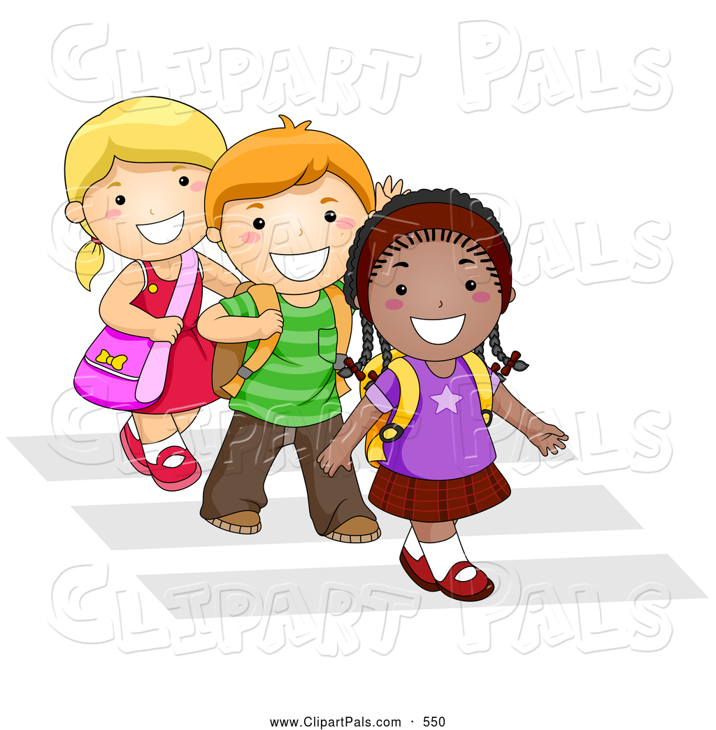 pal clipart of a trio of diverse school kids walking in line on a rh clipartpals com Student Leadership Clip Art Students Talking Clip Art