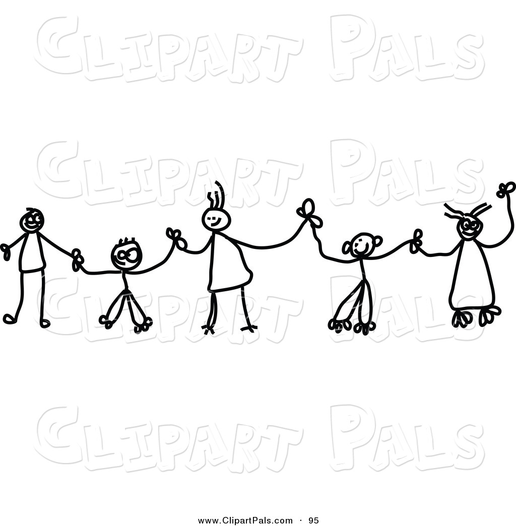 pal clipart of black and white chain of stick children holding hands