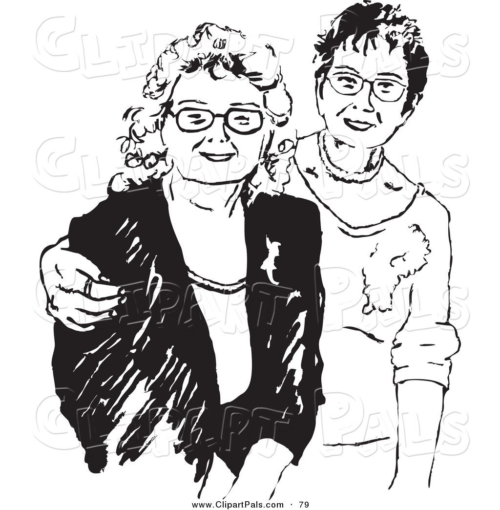 Pal clipart of black and white grown women friends