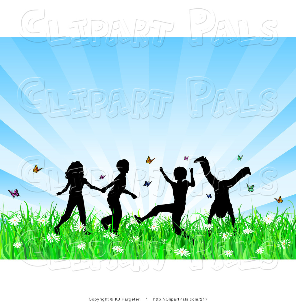 Pal Clipart Of Four Playing Silhouetted Children Running Holding