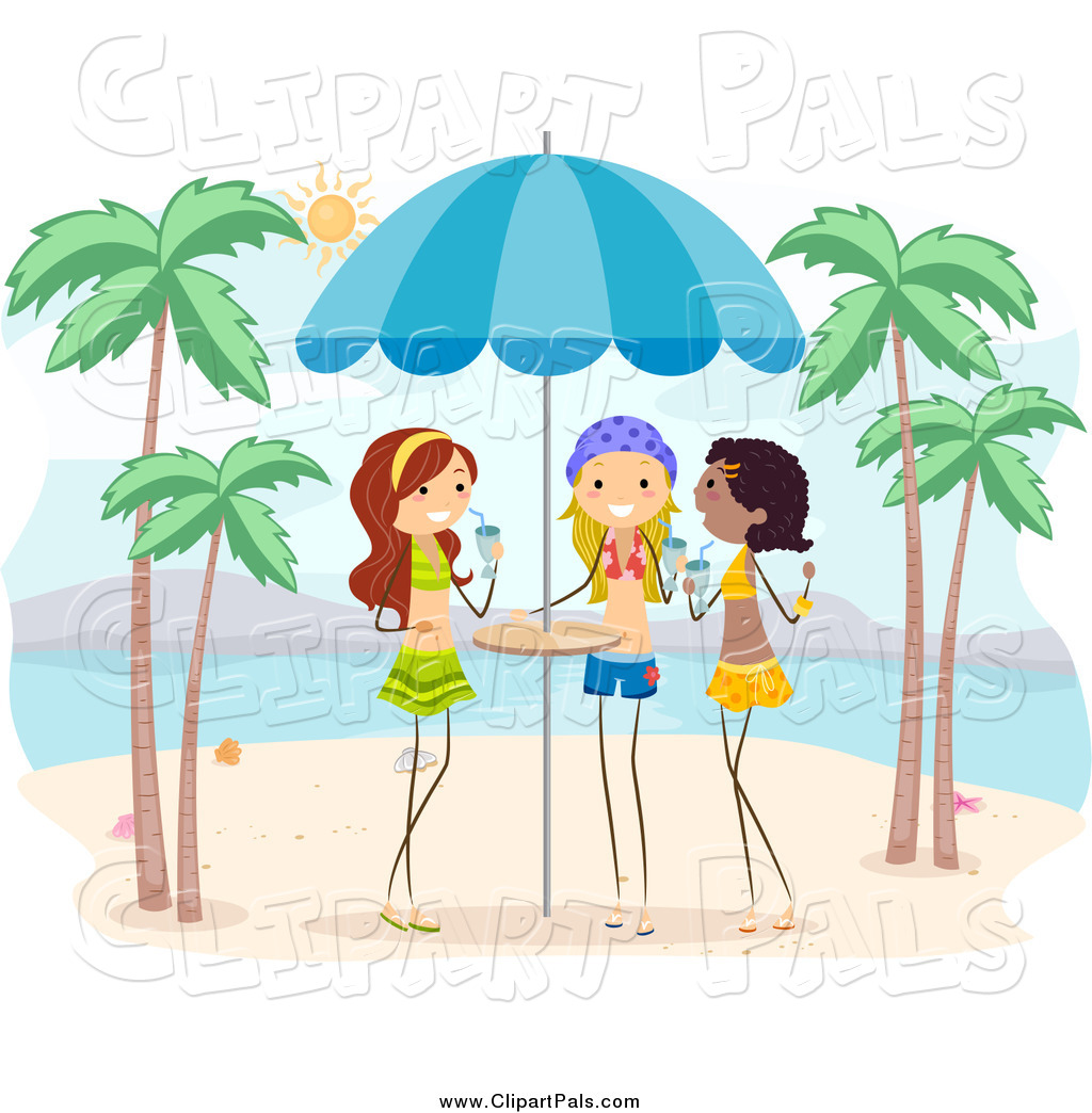Pal Clipart of Girls with Drinks on a Beach by BNP Design ...