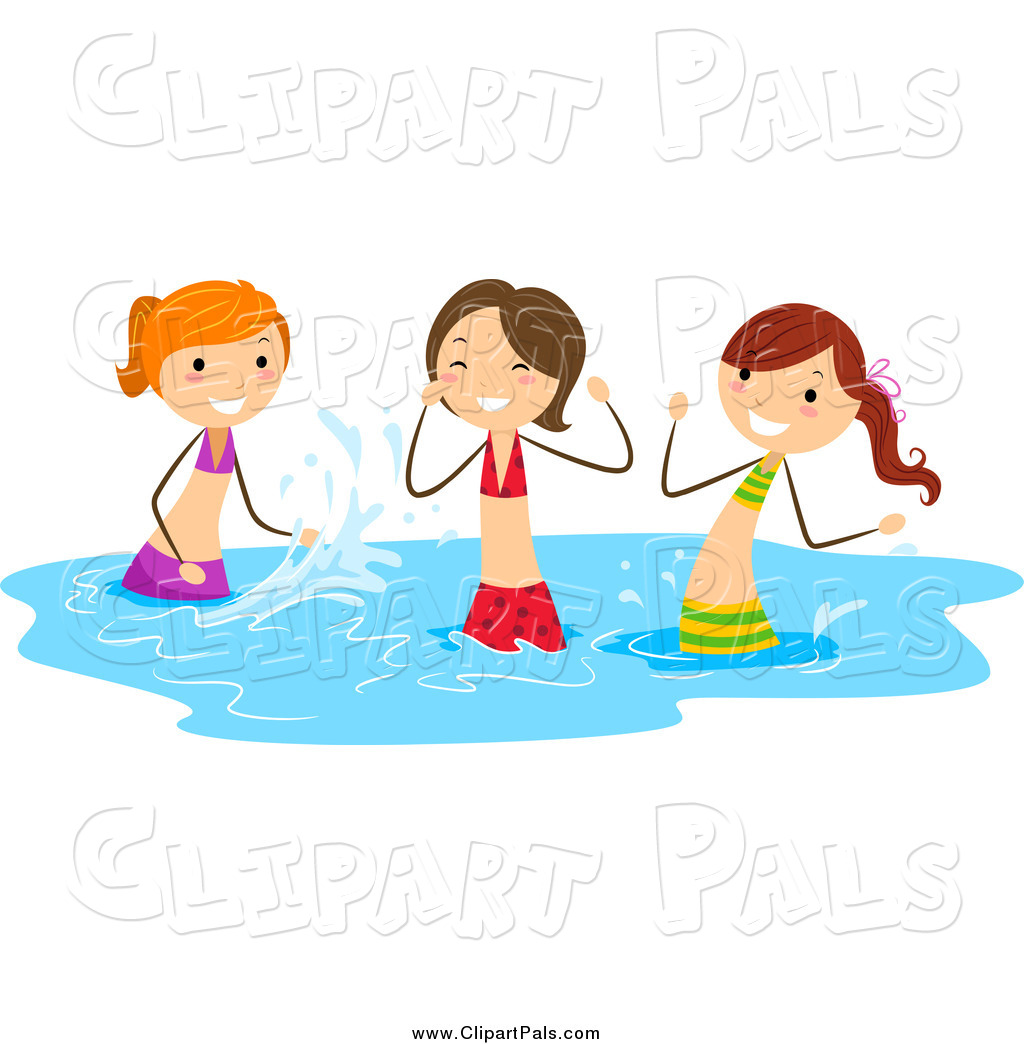 Pal Clipart Of Playful Stick Girls Splashing In Water By Bnp Design Studio 508