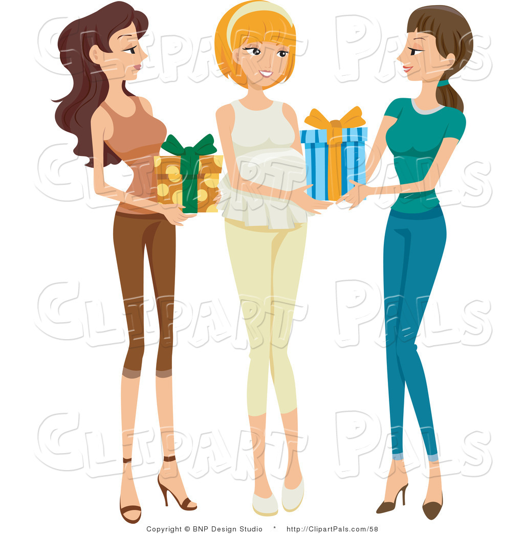 Pal Clipart Of Two Friends Bringing Presents To A Baby Shower For Hy Pregnant Woman