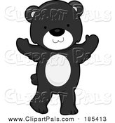 Clipart of a Cute Cartoon Bear Standing like Human - Black and White Version by BNP Design Studio