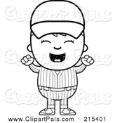 Clipart of a Happy Baseball Kid Cheering - White and Black Outline by Cory Thoman